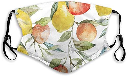 Zitrone und Orange Clementine Zweige Frucht Lecker Winter Saison Vitamin Design, Gesichtsmaske Wiederverwendbare waschbare Masken Stoff für Männer und Frauen