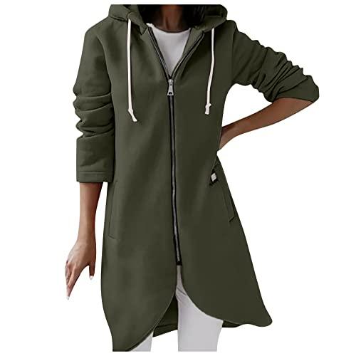 QEERT Abrigo de invierno para mujer, elegante, de manga larga, con cremallera irregular, con capucha, largo acolchado, verde, XXL