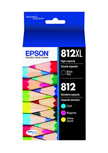 EPSON T812 DURABrite Ultra Ink High Capacity Black & Standard Color Cartridge Combo Pack (T812XL-BCS) for Select Epson Workforce Pro Printers