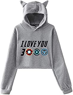 New style The Avengers I Love You 3000 times printing cat ears Women girl Hip Hop hoodie Long Sleeve crop top sexy Hoodie