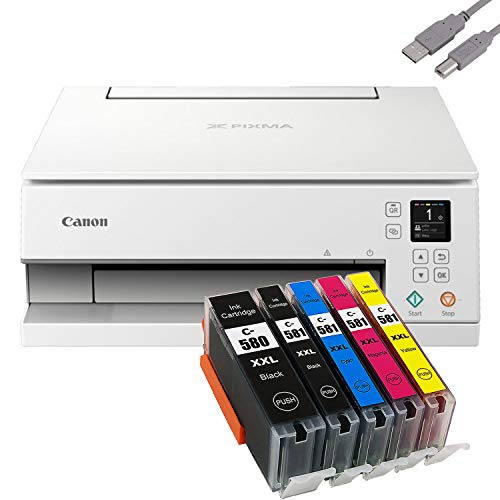 Bundle Canon PIXMA TS6351 Tintenstrahldrucker Multifunktionsgerät (Drucker, Scanner, Kopierer) mit 5 komp. Youprint® Tintenpatronen für PGI-580/CLI-581 XXL +USB-Kabel