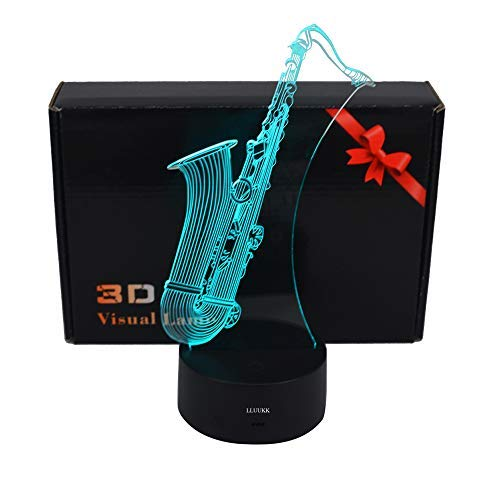 LLUUKK Visual 3D Night light SAX saxophone player toys Desk Lamp Table decoration household accessories Kids gift boys festival for music lovers
