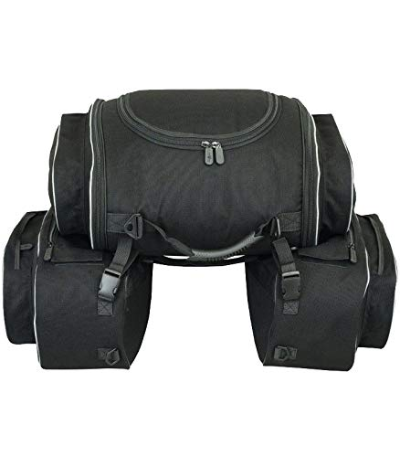 LOVO Alforjas laterales con bolsa trasera para moto (semirrígidas)