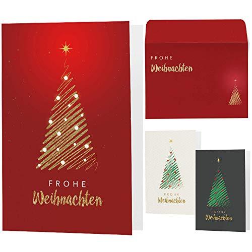 15 moderne Weihnachtskarten mit Umschlägen - Klappkarten mit Sprüchen & Rezepten für Weihnachten - Weihnachtskarte Set für Familie, Freunde oder Kunden (rot-gold)