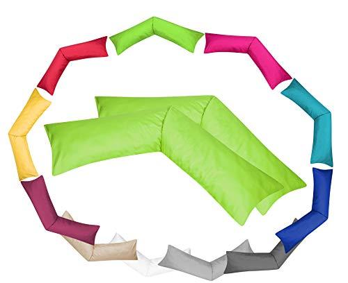 MOON Luxury Linon 2er Pack Kissenbezug für Seitenschläferkissen 40x145 apfelgrün, Kissenhülle 100% Baumwolle