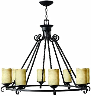Hinkley 4308OL Casa Eight Light Chandelier, Olde Black Finish with Antique Scavo Glass