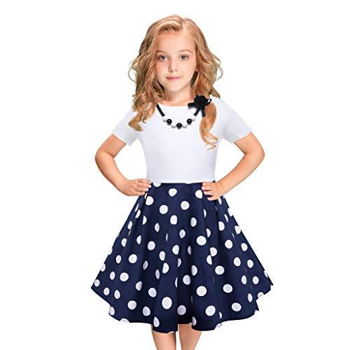 MRULIC Mädchen Abendkleid Vintage Kleid Party Kleid Kostüme Kleider Swing Rockabilly Kleider mit Halskette Größe 6-12 Jahre Kindergarten Uniform(2-Blau,110)