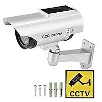 ダミーフェイクセキュリティカメラ、CCTVソーラーパワーフェイクカメラ現実的な防水セキュリティ防水監視セキュリティカム点滅 (銀)