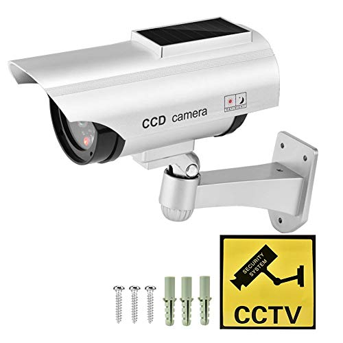 Buy Discount Xinwoer Solar Power Fake Camera CCTV Waterproof Dummy Security Cam Blinking(Silver)