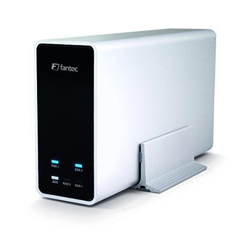 FANTEC Mobile RAID X2 externe harde schijf behuizing (voor 2x 6,35 cm (2,5 inch) SATA HDD of SSD tot 10TB en meer, RAID-functie 0/1/JBOD, USB 3.0 SUPERSPEED, UASP, aluminium behuizing) zilver