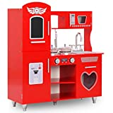 vidaXL Küche mit Telefon Spielküche MDF Rot Retroküche für Kinder Kinderküche mit Zubehör Wunderschönes Design Tafel Höhe 89cm Spielküche Spielzeug Kinderküche
