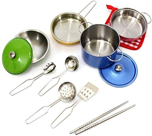 MEDca Kids Pretend Play Stainless Steel Kitchen Set  13Piece Complete Durable Cooking Playset Includes Pots Pan Bowl Kitchen Utensils and Oven Mitt for Boys and Girls