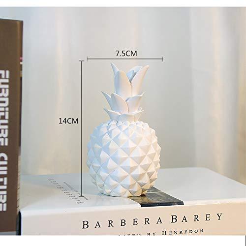 DishyKooker Spardose aus Kunstharz, Ananas-Form, für Zuhause, Dekoration, White S