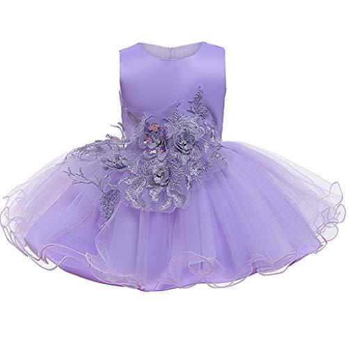 Ashop - Vestido de princesa largo con lazo para dama de honor sin mangas, vestido de noche, boda, carnaval, fotografía, fiesta de cumpleaños, fiesta de encaje bordado morado 69 cm