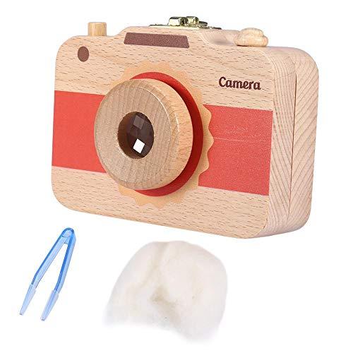 Hölzerne Milchzähne Aufbewahrungsbox Niedliche Kamera Muster Erste Haarschnitt Keepsake Teeth Save Case für Baby(Red)