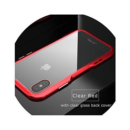 Magnetische beschermhoes voor iPhone X Xs Max Xr 8 7 Plus, transparante glazen achterkant, met metalen bumper, voor iPhone XS Max Clear Red