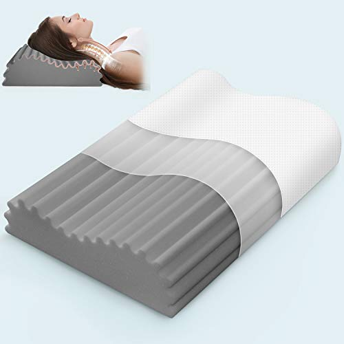 Ivellow Memory Foam Pillow, Bamboo Charcoal Pillow for Sleeping, Cervical Contour Pillow for Neck Pain, Neck Support Pillow for Side Sleeper, Pillow Sleeping with Free Pillowcase (Firm, Standard Size)
