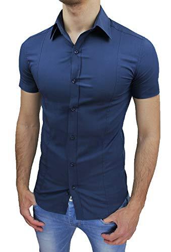 Evoga Camicia Uomo Slim Fit a Maniche Corte Aderente Elasticizzata (M, Blu)