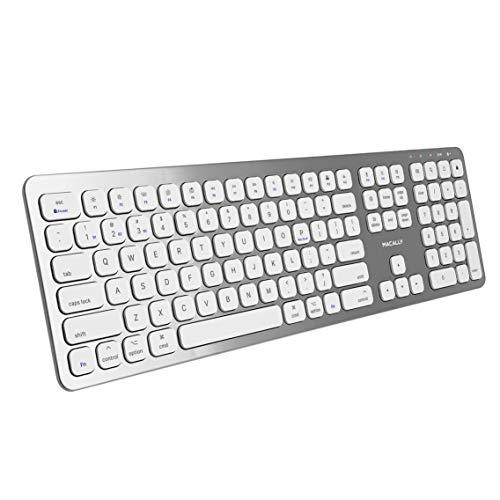Macally Bluetooth Wireless Keyboard for Mac, iMac, Apple Mac Pro - Compatible Apple Keyboard Wireless for Mac Mini, MacBook Pro/Air Laptop - Rechargeable Full-Size Mac Wireless Keyboard - BTWKEYMB