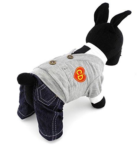 Pegasus Pet Kleidung für Welpen Katze Kleine Hunde, Preppy Look Hemd Set Denim Hose Jumpsuit Grau