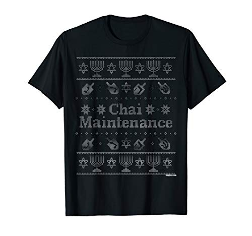 Chai Maintenance 'Ugly Sweater' Hanukkah Shirt by UniqTees