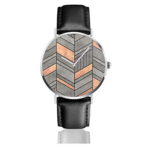 Reloj de pulsera de cuarzo, diseño abstracto de chevron, de hormigón y cobre, resistente al agua, correa de piel sintética, reloj de cuarzo clásico casual de acero inoxidable