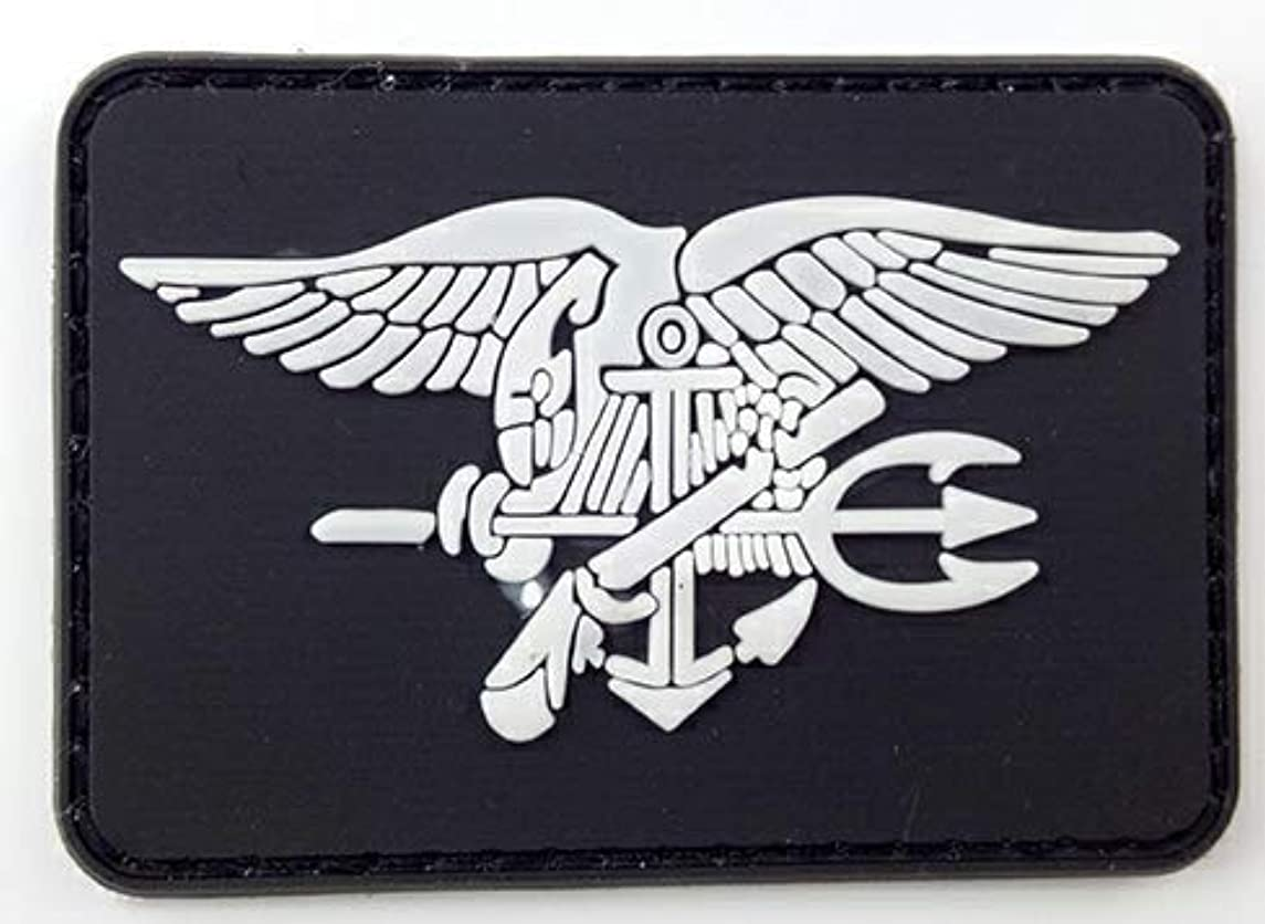 Morton Home US Navy Seal Team Military Morale Rubber Badges Patch Tactical Navy Seal Team Trident Rubber Badges Patch (Black)