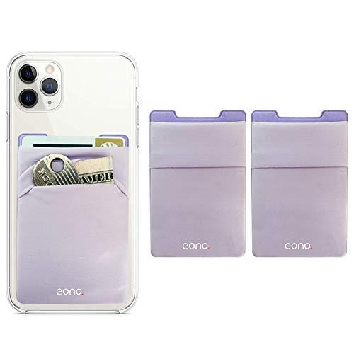 Eono Amazon Brand Phone Card Holder - Funda para móvil con tarjetero RFID (2 unidades), color morado