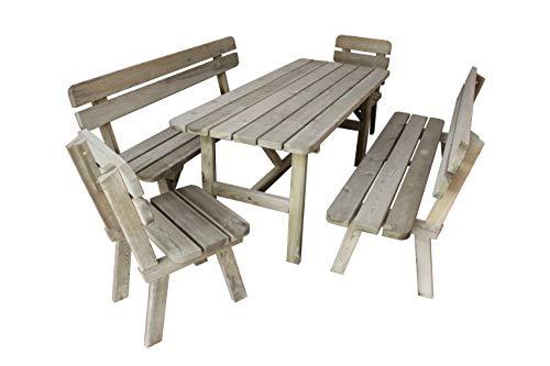Platan Room Gartengarnitur Holz Kiefer Sitzgruppe 180 cm breit Gartenbank Gartentisch massiv Imprägniert (Set 2 (Tisch + 2 Bänke + 2 Stühle), 180 cm)