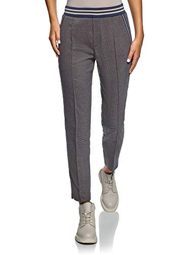oodji Ultra Mujer Pantalones con Cintura Elástica y Decoración Gráfica Pequeña