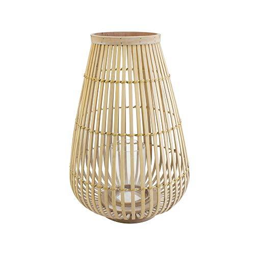connox Collection Bambus-Rattan-Windlicht geeignet als Deko für Wohnung, Garten, Terrasse und Balkon. Große Bambus Laterne mit Kerzen-Glas 45 cm, Natur