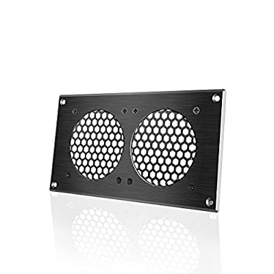 AC Infinity Ventilation Grille 5, for PC Computer AV Electronic Cabinets, Also Includes Hardware to Mount Two 80mm Fans