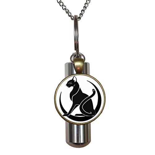 Egyptian Cat Jewelry, Art cat Jewelry URN, Egyptian Cat URN, Egypt Cremation URN Necklace, Cat Jewelry, Black cat,Egyptian URN, Egypt Cremation URN Necklace,N069
