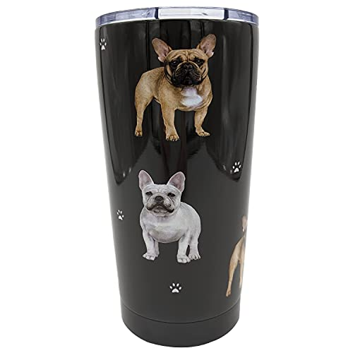 French Bulldog PetBella Insulated Tumbler with Lid 16 oz Stainless Steel Vacuum Insulated Double Wall Travel Thermos Tumbler Dog Breed Design Thermos Mug with Splash Proof Lid