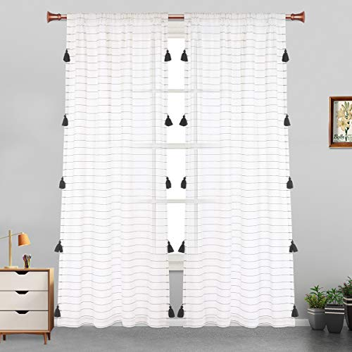 LORDTEX Handmade Tassels Sheer Curtains for Bedroom - Textured Faux Linen Curtains, Belgian Linen Light Filtering Back Tab and Rod Pocket Drapes for Living Room, 2 Panels, 52 x 63 inch, Dark Grey