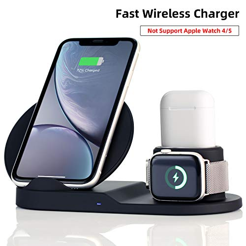 Wireless Charger Station,3 in 1 Charging Stand for Apple Watch, Dock for AirPods, Qi-Certified Wireless Charger for iPhone 11 Pro...
