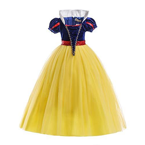 ELSA & ANNA® Ragazze Principessa Abiti Partito Vestito Costume IT-SNWYEL04 (5-6Anni, Giallo)