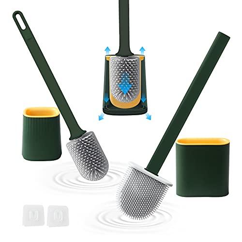 Klobürste Toilettenbürste 2er Set, WC Bürste mit Schnell Trocken Behälter, Klobürste Silikon mit Antitropfschale, Toilettenbürste Wandmontage&Stehen, Flexible Toilet Brush für Badezimmer