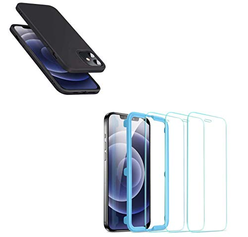 [3-Pack] ESR Tempered-Glass Screen Protector for iPhone 12 Mini + ESR Silicne Case Compatible with iPhone 12 Mini Case