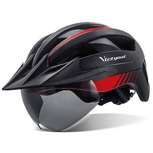 VICTGOAL Fahrradhelm MTB Helm mit Abnehmbarer Magnetische Schutzbrille Visier Atmungsaktiv mit 21 Belüftungskanäle Radhelm für Erwachsene Einstellbare Fahrradhelme (Schwarz Rot)