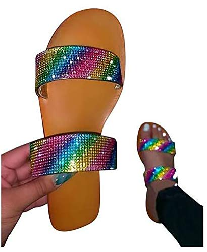 ZJY Women's Comfort Slide-On Sandal Plantar Fasciitis Feet Sandal with Arch Support - Best Orthotic Flip Open Toe Casual Slide Sandals,Burst,37