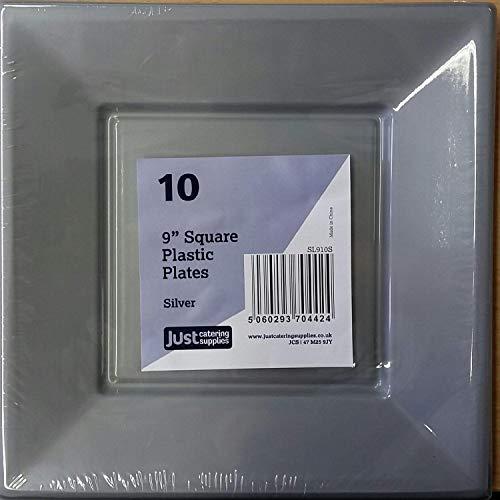 Quadratische Teller und Schalen aus Kunststoff, silber, 9
