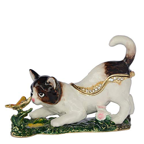 GLKHM Ornaments Statues Sculptures Cat Play Butterfly Trinket Box Collectible Statues Figurines