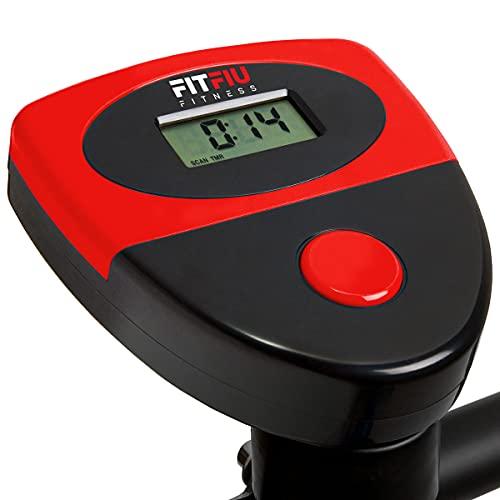 FITFIU Fitness BEST 100 Bicicleta Estática Spinning ultracompacta, 5 kg, sin respaldo, regulable en 8 niveles y pantalla LCD Entrenamiento Fitness Tonificación, Unisex adulto, Roja
