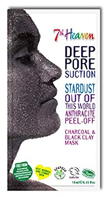 StarDust Anthracite Peel-Off Charcoal Black Clay Mask by 7th Heaven | Blackhead Removing for Oily, Combination and Normal Skin - Draws Out Impurities for Ultra Clean, Glowing Skin