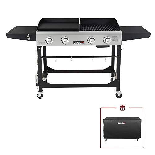 Royal Gourmet GD401C 4-Burner Portable Propane Flat Top Gas Grill and Griddle Combo,...