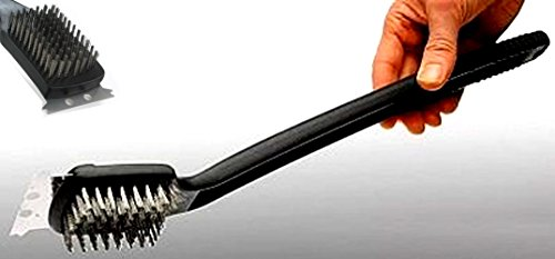 BBQ Grillbürste Reinigungsbürste Mit Metallschaber 46 Cm Lang | XXL Format 46 cm lang mit 7 cm breitem Schaber und Drahtborsten