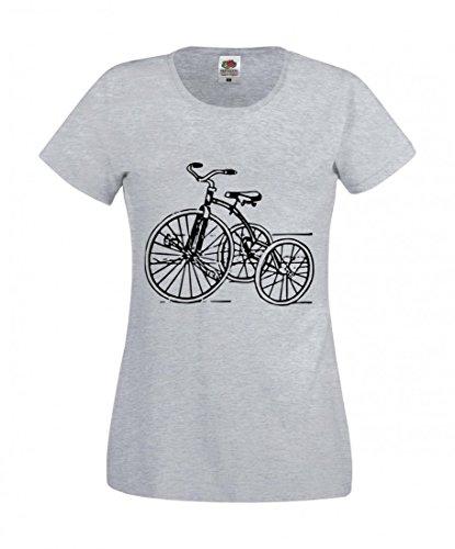 T-Shirt Dreirad- Jahrgang- Retro- Spielzeug- Kindheit- ZYKLUS- ANTIK- Trike- Nostalgie- FAHRT in Grau für Herren- Damen- Kinder- 104-5XL