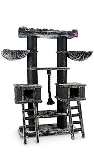 Petrebels Kratzbaum Grosse Katzen Stabil Ragdoll 200 cm Schwarz, Premium Qualität Katzenkratzbaum XXL für große Katzen, mit großen Hängematten, XL Sofa und 20cm Ø Natur-Sisal Stämme