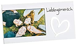 Brandsseller Bilderrahmen Fotorahmen - Lieblingsmensch - mit Spiegelherz 25x13x1,5 cm Matt-Weiß